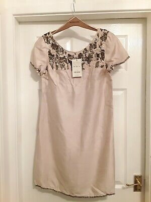 £10.99 • Buy Stunning *monsoon* Nude Dress / Beading Detail Size 14 New With Tags