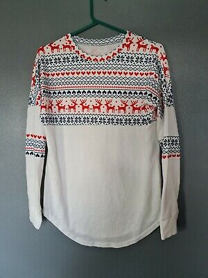 £1.99 • Buy Christmas Thin Jumper Size Small White Reindeer