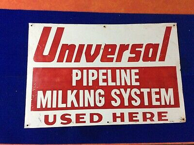 """$74.99 • Buy Universal Pipeline Milking System Used Here, Tin Sign, 12"""" X 18"""""""