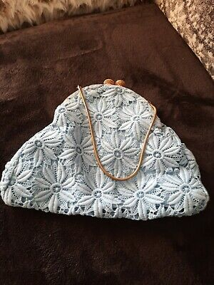 £16 • Buy RARE  Authentic 40s Vintage Crochet Bag With Mirror