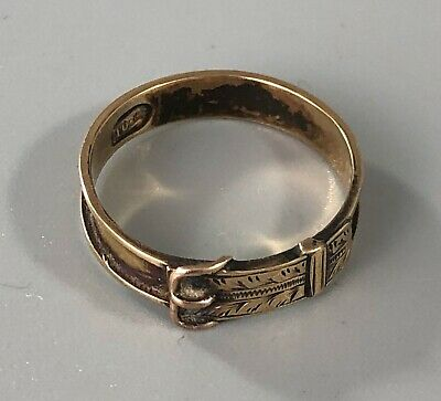 £150 • Buy Antique American 10ct Gold Buckle Mourning Ring 1.6g Size O.5 AZX