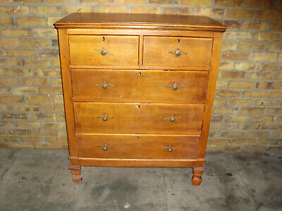 £0.99 • Buy Vintage Retro 2 Over 3 Oak Chest Of Drawers Chunky Legs { NEED LIGTH TLC }