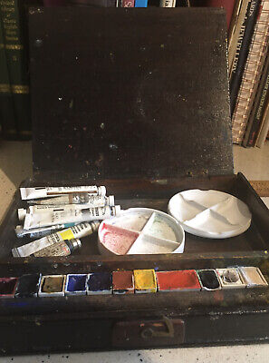 £8.50 • Buy Hand Made Vintage Artists Box With Vintage Winsor & Newton Paint Pans, Palettes