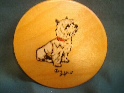 £45 • Buy Scarce Cecil Aldin Signed Wooden Coaster - West Highland Terrier