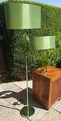£25 • Buy Pair Of Retro Style Green Glass Orb And Chrome Floor And Table Lamps Lamp