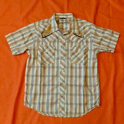 $24.98 • Buy Dragonfly RV Camper Embroidered Beige Plaid Pearl Snap Western Shirt Mens Size M