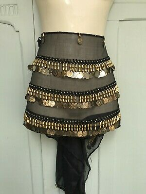£4 • Buy Fab Black And Gold Belly Dance Coin Belt/hip Scarf