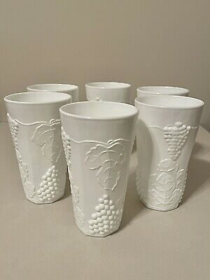 """$9.99 • Buy Vintage 6""""Tall Set Of 6 Milk Glass Drinking Cup Tumblers GRAPE & LEAF PATTERN"""
