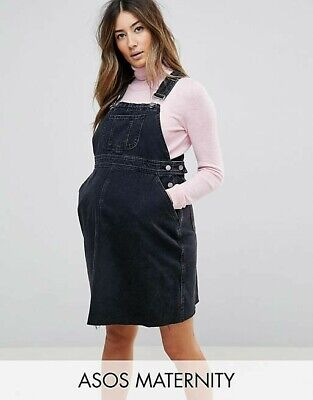 AU9.50 • Buy ASOS Maternity Dungaree Overalls Dress In Washed Black Size 12