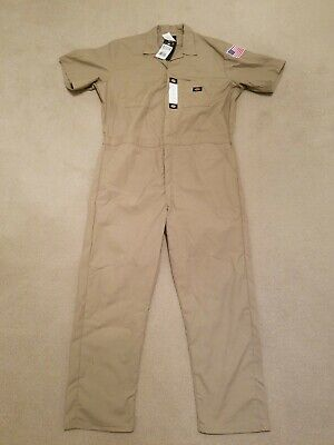 $18 • Buy Dickies Short Sleeve Coveralls Khaki Size XL R New With Tags US Flag On Sleeve