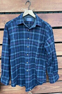 $29.95 • Buy Vintage Pendleton Pure Virgin Wool Thick Flannel Plaid Button Up Blue/Red Sz M