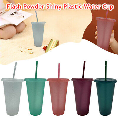 £12.16 • Buy 1/5X Flash Powder Shiny Plastic Tumbler With Lid And Straw Cup Reusable Cold Cup