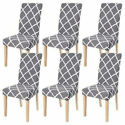 AU28.99 • Buy 6Pcs Stretch Dining Chair Seat Covers Wedding Banquet Party Washable Grey AU