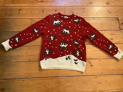 $6.92 • Buy Mens Christmas Jumper Red With Christmas Pudding Design Size Large