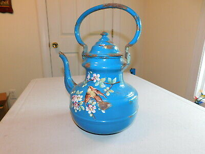 $299.95 • Buy Antique Enameled French Teapot Blue With Flowers And Birds