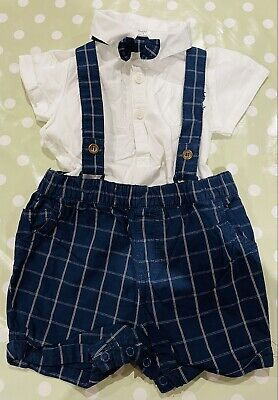 £10 • Buy Baby Boys NEXT Shorts Braces Dungaree Bowtie Special Occasion Outfit 3-6 Months