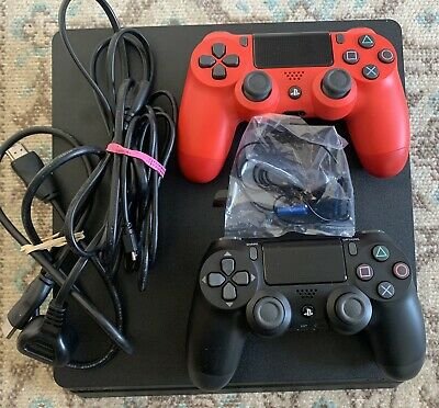 AU335 • Buy Sony PlayStation 4 Slim 500GB Black Console Plus Second Red Controller - January
