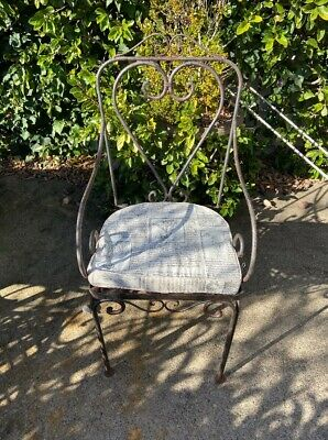 AU180 • Buy 6 X Wrought Iron Outdoor Dining Chairs X 6 Chairs And 6 X Fabric Seat Cushions