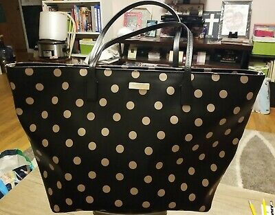 $ CDN99.87 • Buy Kate Spade New York Black Leather Tote With Polka Dots.
