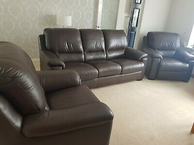£550 • Buy EXCELLENT Quality And Condition Brown Leather 3 Piece Suite
