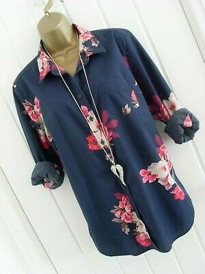£2.95 • Buy Joules - Navy Blue Floral Print Classic Fit Lucie Shirt Top Size 14