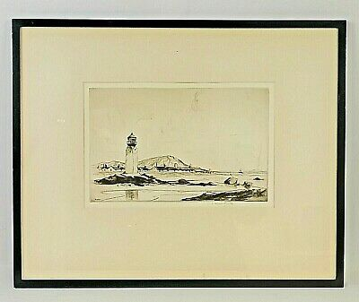 £69.99 • Buy Early 20th C, Framed, Signed, Artist's Proof, Monochrome Etching Of Lighthouse