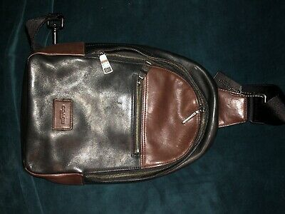 $26 • Buy Coach Men's Leather Sling Backpack Black And Brown