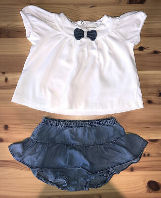 £0.99 • Buy Il Gufo Baby Girl White Short Sleeve Top With Denim Ruffle Skirt Set Age 6 Month