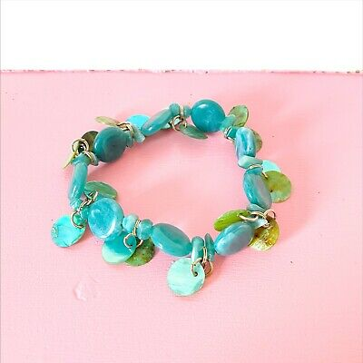 £3 • Buy Blue And Green Beaded Stretch Bracelet