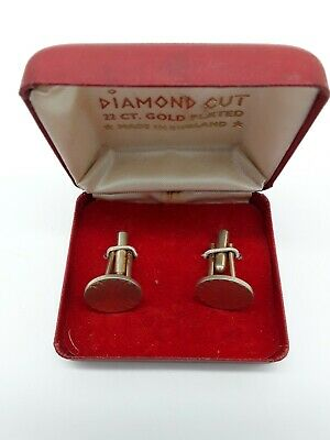 $11.18 • Buy 1 Pair Mens Vintage Diamond Cut 22 Ct Gold Plated Cuff Links Made In England