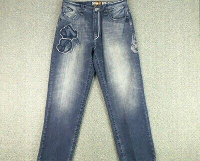 $39.99 • Buy Akademiks Jeans Mens 38X32 Blue Wide Leg Patches Embordered Distressed  Zip Fly