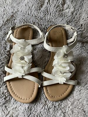 £3 • Buy Primark Girls White Flower Sandals Size 1 Immaculate