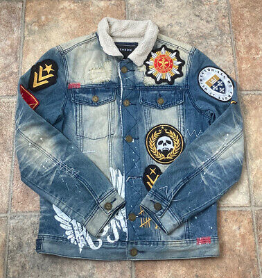 $1.38 • Buy Reason - Biker - Patched Denim Jeans Jacket - Mens - Blue Patch - Size Small