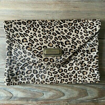 £10.70 • Buy Temperley London Leopard Envelope Bag With Brass Clasp Details - Genuine Leather