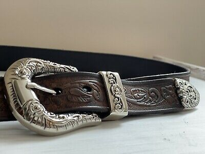 £10 • Buy Leather Belt With Big Silver Buckle