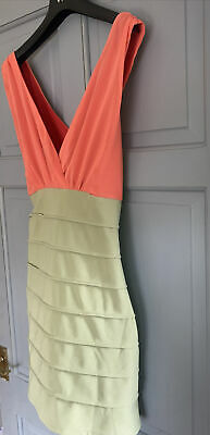 £3.30 • Buy Quirky Dress 14 By Rane Two Tone In Orange & Olive