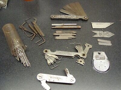 $50 • Buy Vintage Lot Of Machinists Tools, Gages, Drill Bits, Cutters, Measuring (1043e)