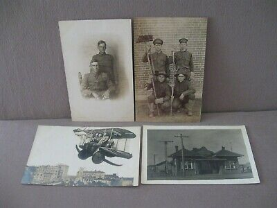 $14.99 • Buy ANTIQUE RPPC POSTCARDS Lot Of 4 Military Airplane Soldiers Depot