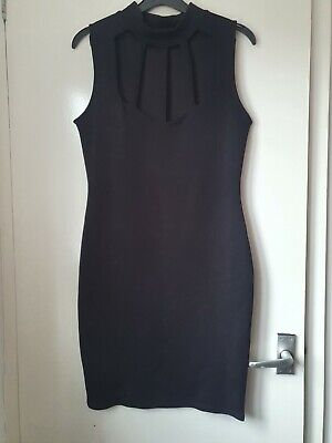£0.99 • Buy Black Bodycon Dress With Caged Cut Outs Size 12