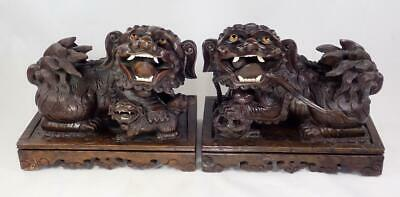 £197.71 • Buy PAIR Antique Chinese 19th C. Carved Hardwood Foo Lions Dogs Figurines Qing