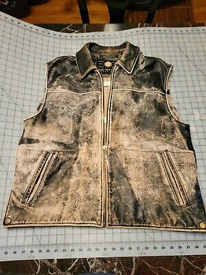 $155 • Buy Andrew Marc Distressed Mens Leather Vest Size  Xl
