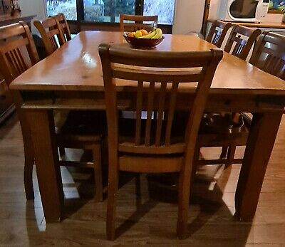 AU1800 • Buy Country Style Dining/kitchen Timber Furniture Suite Inc. 8 Seater Table & Chairs