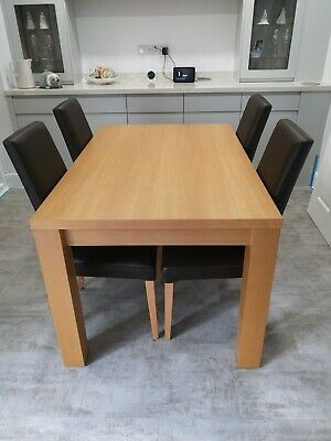£85 • Buy Beech Dining Table And 4 Matching Brown Leather Chairs
