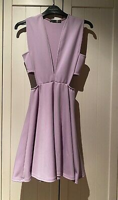 £9 • Buy Boohoo Lilac V Neck Dress With Cut Out Sides Size UK 6