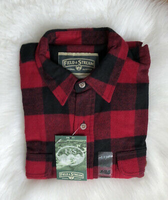 $34.99 • Buy XL TALL Field & Stream Flannel Long Sleeve Outdoor Men's Shirts Red Plaid NEW