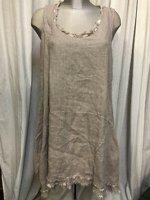 £15.99 • Buy Eden Rock Sleeveless Nude Eashed Linen Lagenlook Tunic With Spot Trim  Size S