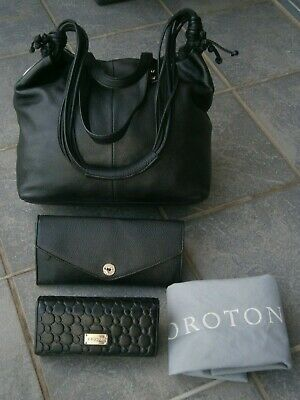AU21.50 • Buy  3 Oroton Items- Tote/shoulder Leather Bag & Leather Clutch & Leather Wallet