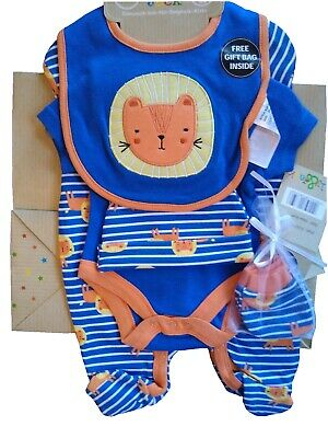 £12.99 • Buy Baby Boys Layette Clothing & Gift Bag Set Blue Lion Boutique Starter Outfit NEW