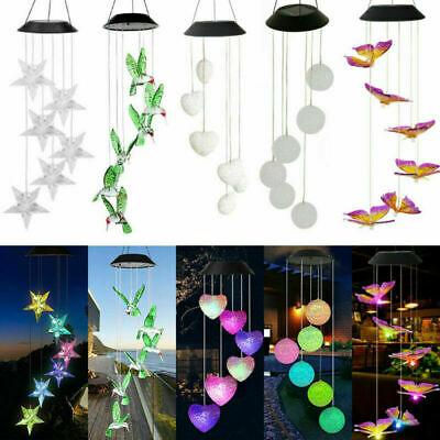 £10.79 • Buy LED Solar Wind Chime Light Color Changing Outdoor Garden Hanging Patio Lamp UK