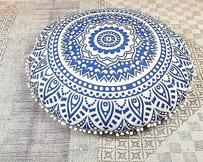 £11.99 • Buy Blue Ombre 100%Cotton Large Mandala Round Floor Cushion Cover 32  Inch